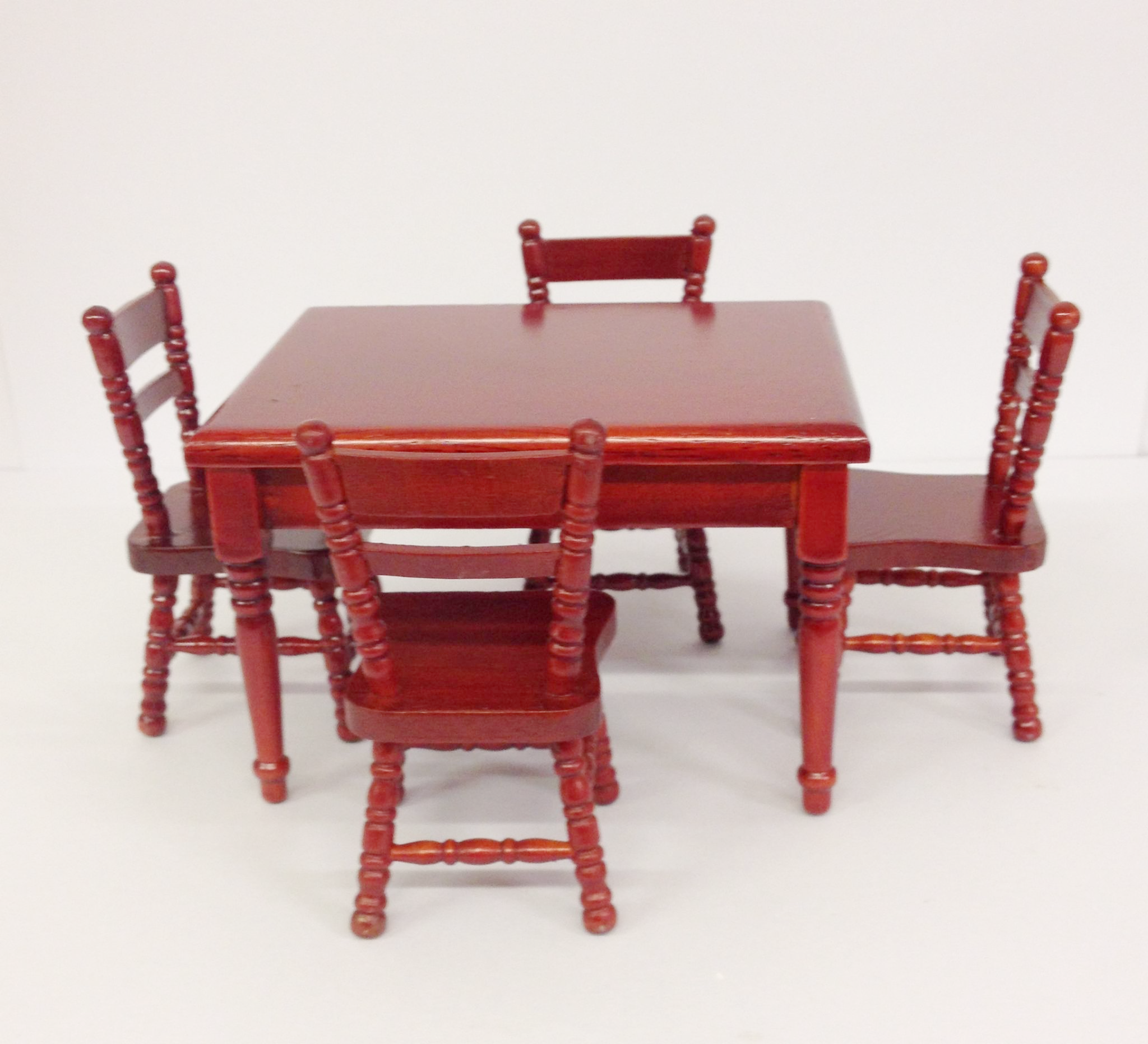 Wooden Dolls House Furniture 8 Piece Kitchen Dining Room Set 1:12 Scale